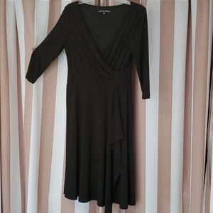 Jones Wear Black Faux Wrap Dress
